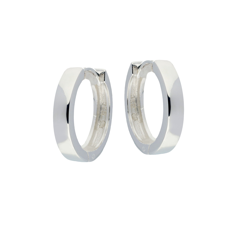 Zilveren 107.0073.16 Oorringen met vierkante buis 3 mm