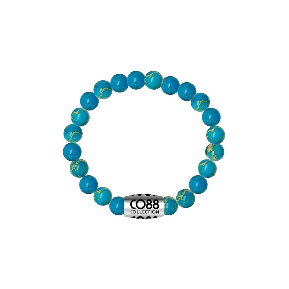 CO88 Collection 8CB-17018 - Armband met bead - Oceaan natuursteen 6 mm - lengte 16 cm - turkoois blauw