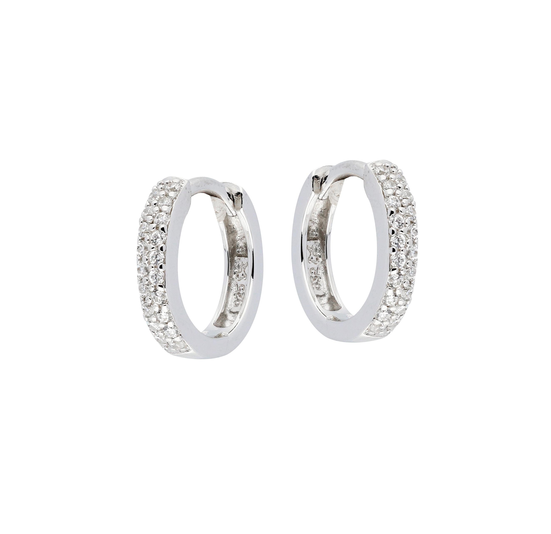 Zilveren klapcreolen - zirkonia - rond 2.5 x 13 mm - gerodineerd 107.0318.13