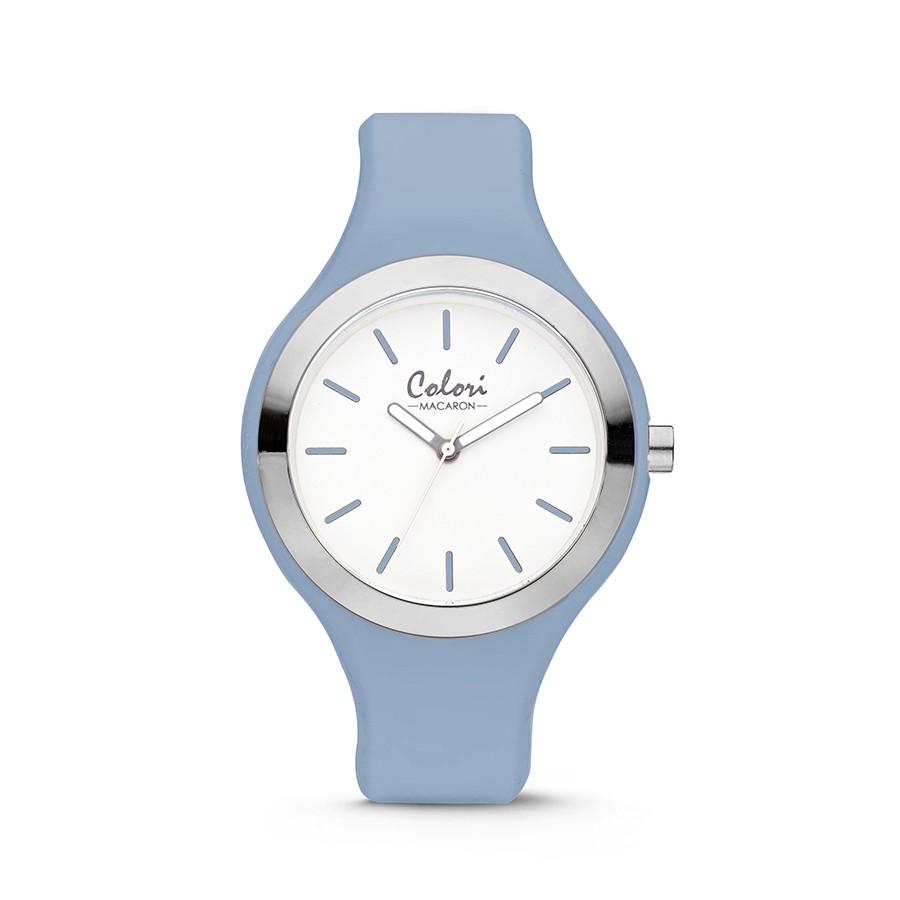 Colori Macaron 5-COL508 - Horloge - siliconen band - lichtblauw - 44 mm