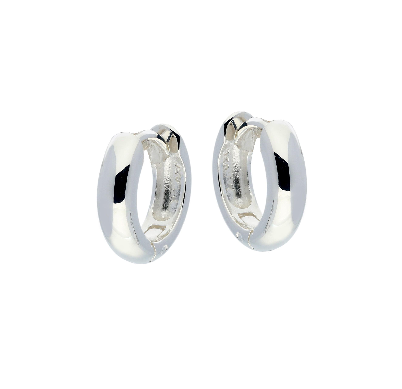 Zilveren klapcreolen - ronde buis 4 mm  107.0068.14