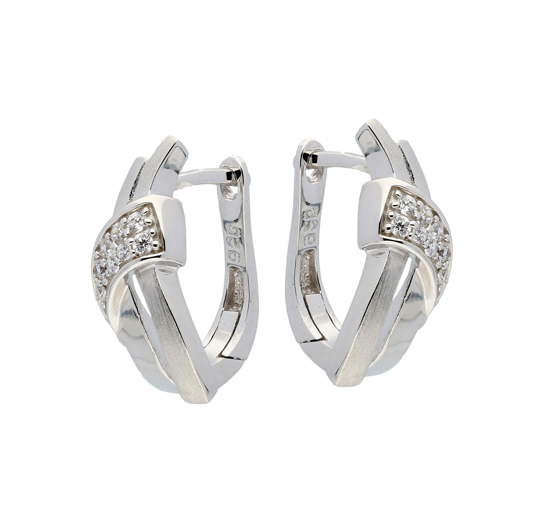 Zilveren Oorbellen klapcreolen met zirconia 107.6155.00