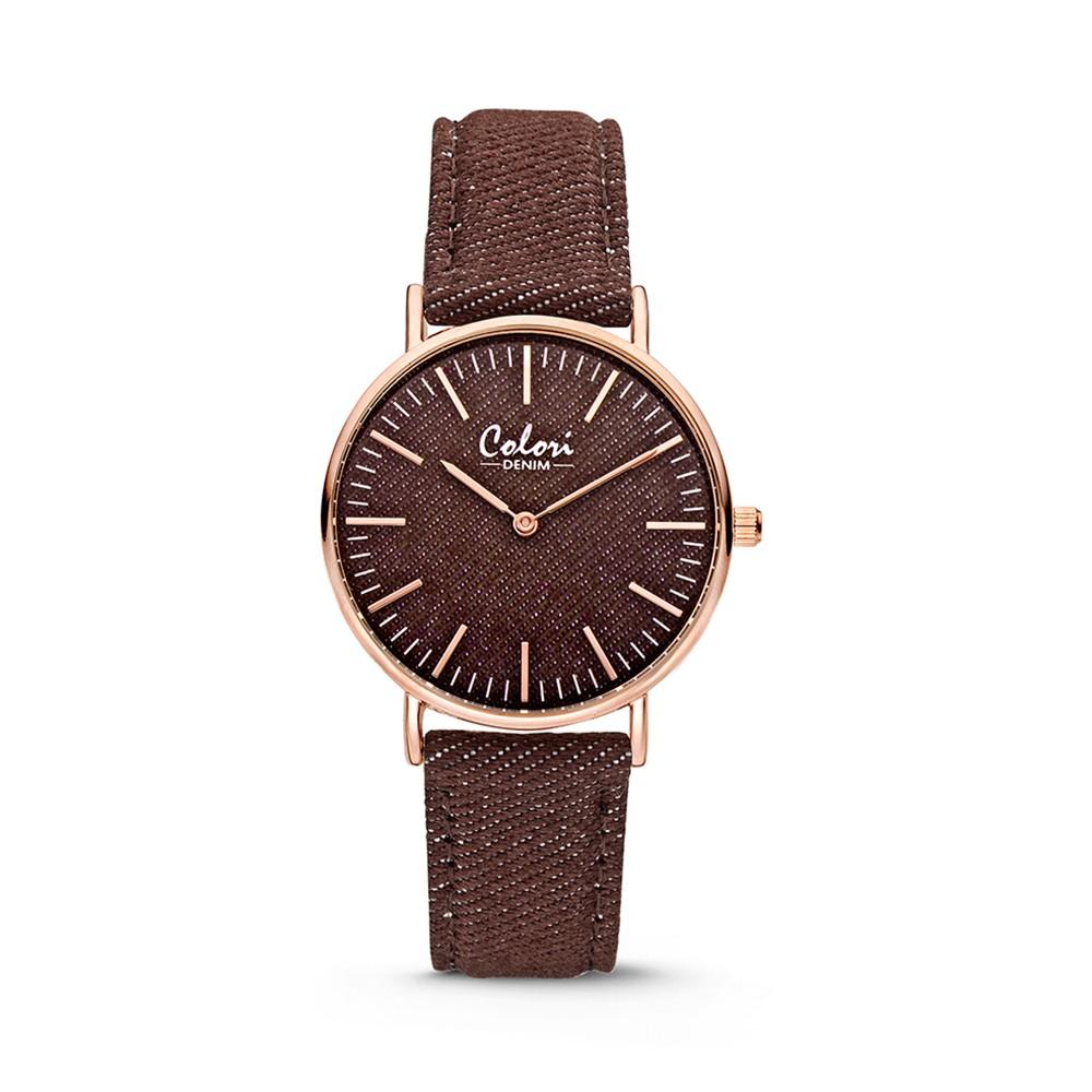 Colori - Denim - 5-COL417 - Horloge - denim band - bruin - 36 mm