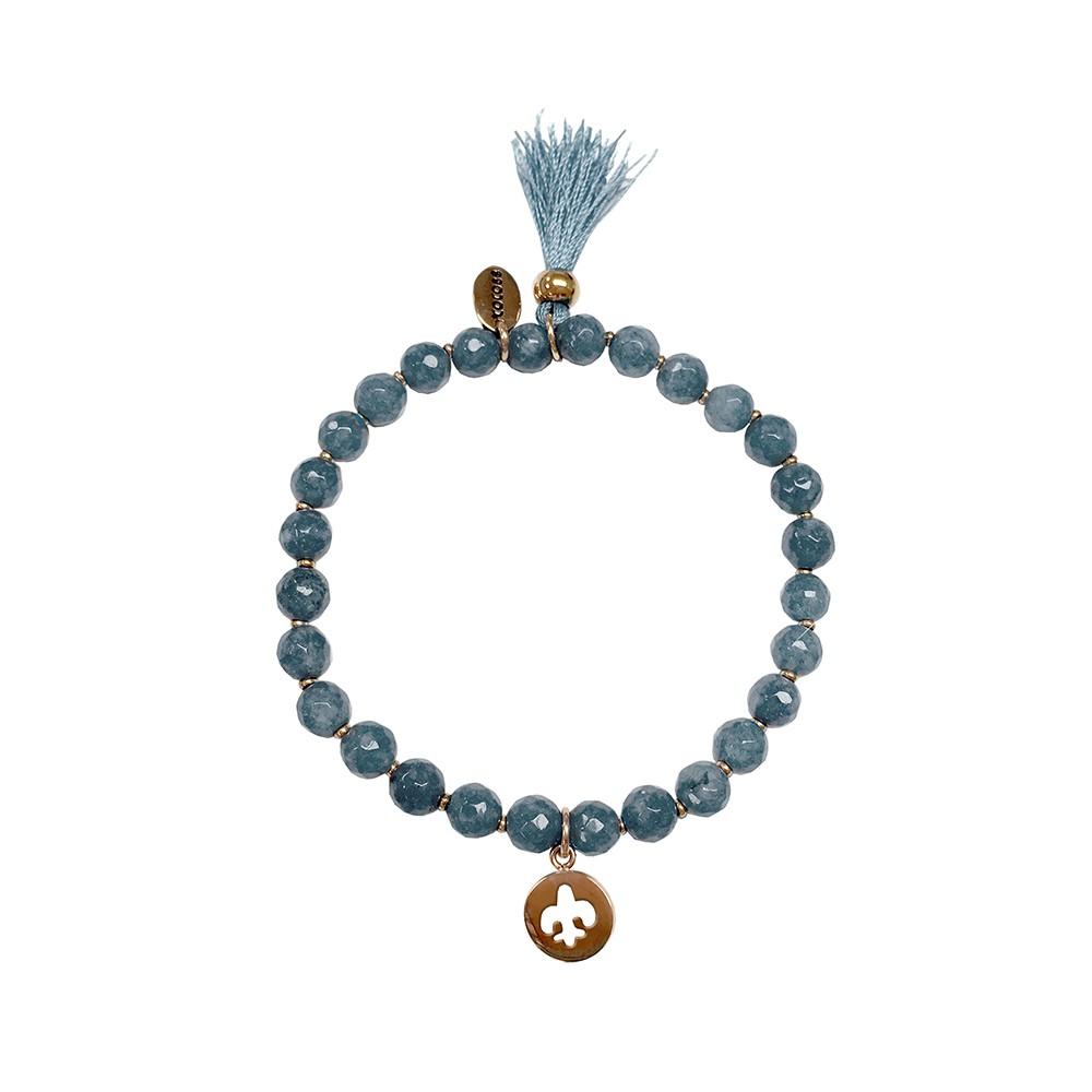 CO88 Collection 8CB-40014 - Rekarmband met bedels - Agaat natuursteen 6 mm - Franse lelie en kwast - one-size - blauw / rosékleurig