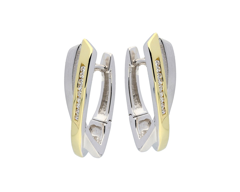 Zilveren Oorbellen klapcreolen met zirconia goudkleurig 107.5155.00