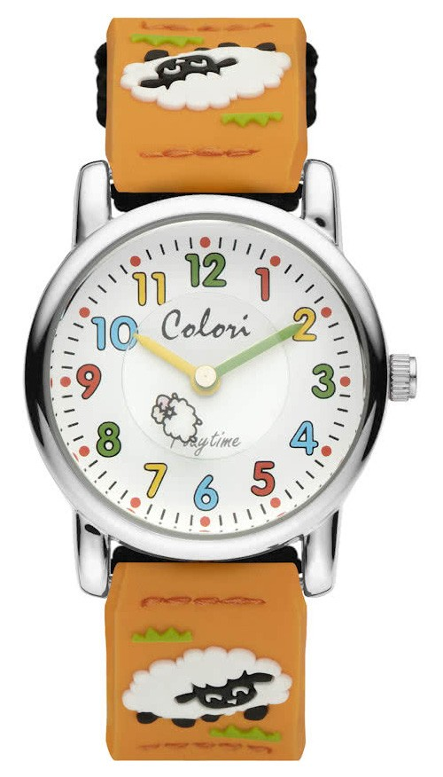 Colori 5-CLK068 Kinderhorloge Nylon band Oranje, Zwart Schaap 28 mm