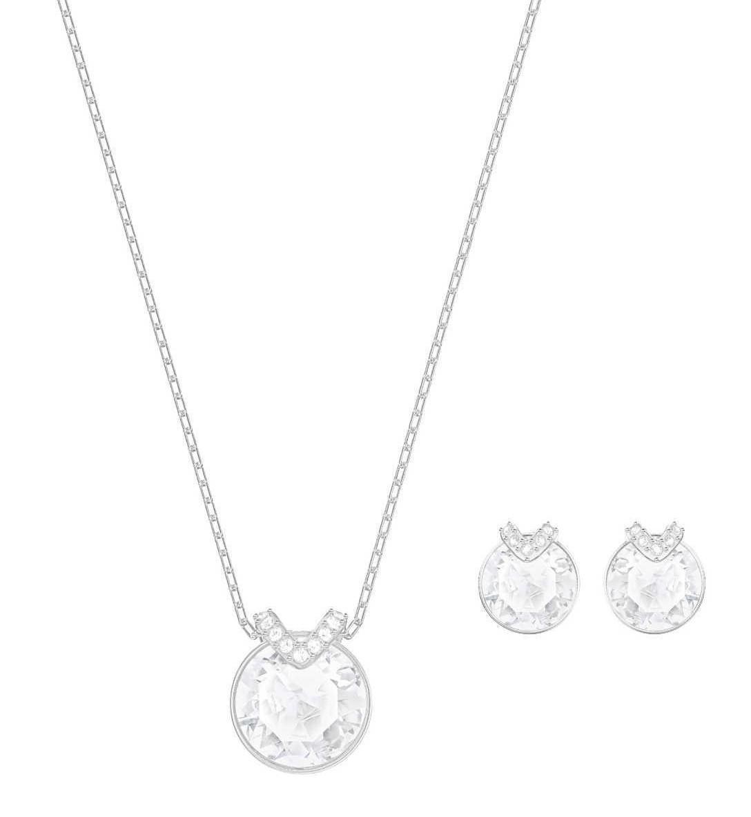 Swarovski Set Ketting Oorknoppen 'Bella V' White-Silver 5299319