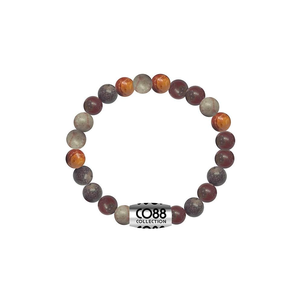 CO88 Collection 8CB-17024 - Armband met bead - Jasper natuursteen 6 mm - lengte 16 cm - grijs / bruin