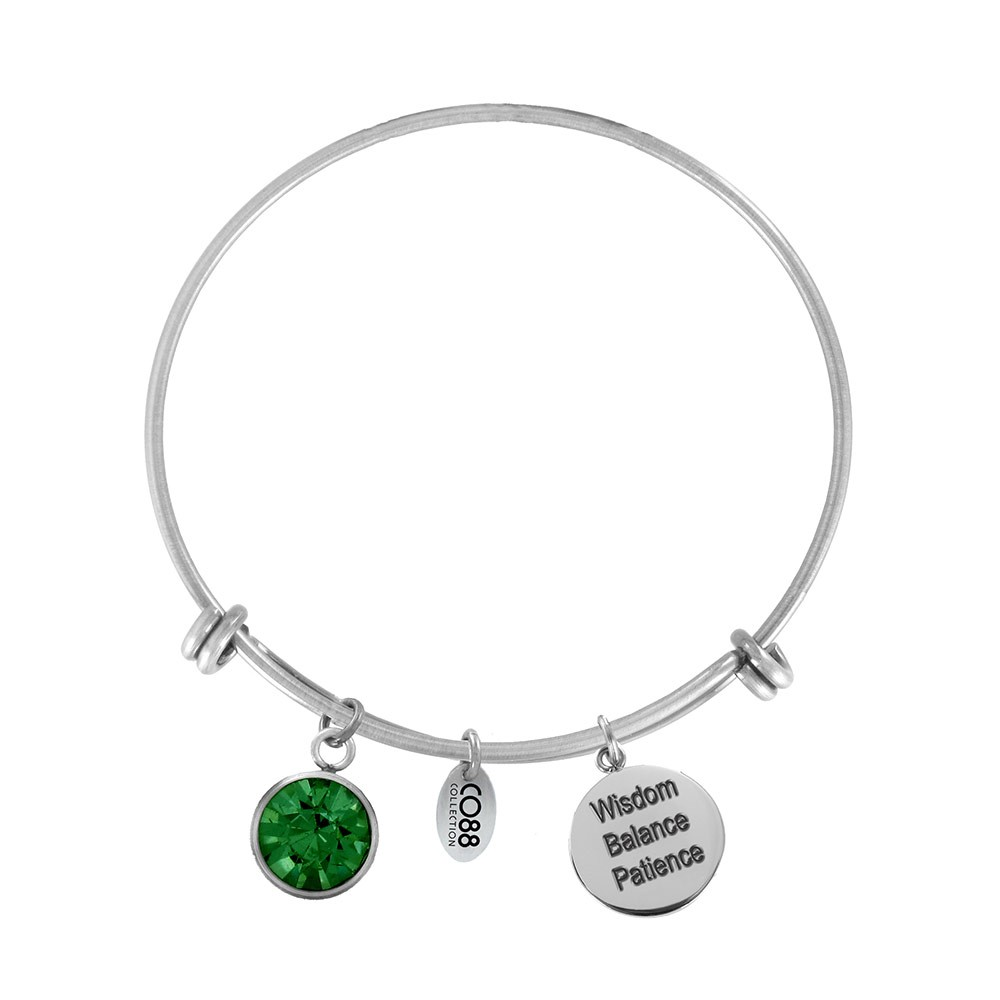 CO88 Collection 8CB-12029 - Stalen bangle met geboortesteen mei | Smaragd en bedels - one-size - groen / zilverkleurig