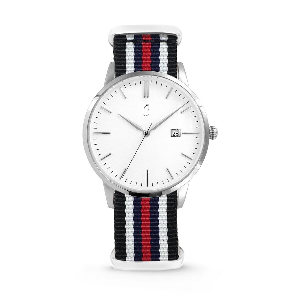 Colori Horloge Connaisseur staal/nylon zwart-wit-blauw 4- mm 5-COL495