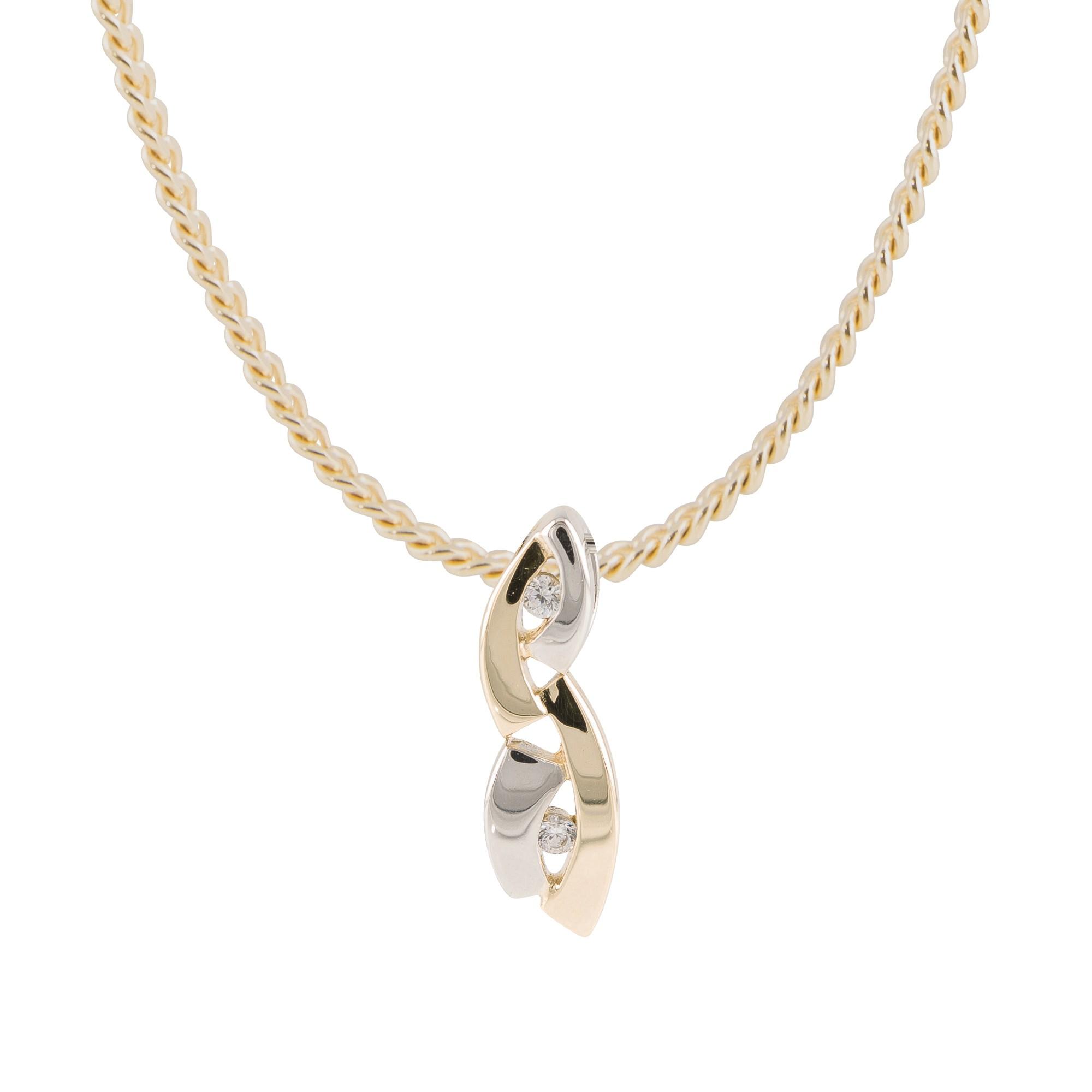 Gouden hanger gold collection Witgoud en geelgoud - glanzend - 2x zirkonia 220.5230.00