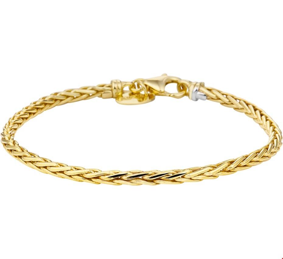Zilgold Armband Witgoud Vossestaart 3,0 mm 18,5 cm