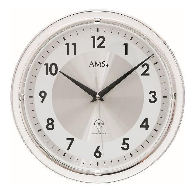 AMS Wandklok zendergestuurd zilverkleurig 30 cm 5945