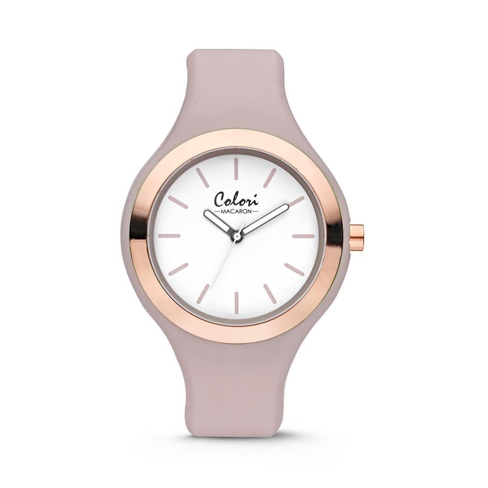 Colori - Macaron - 5-COL436 - Horloge - siliconen band - taupe - 44 mm