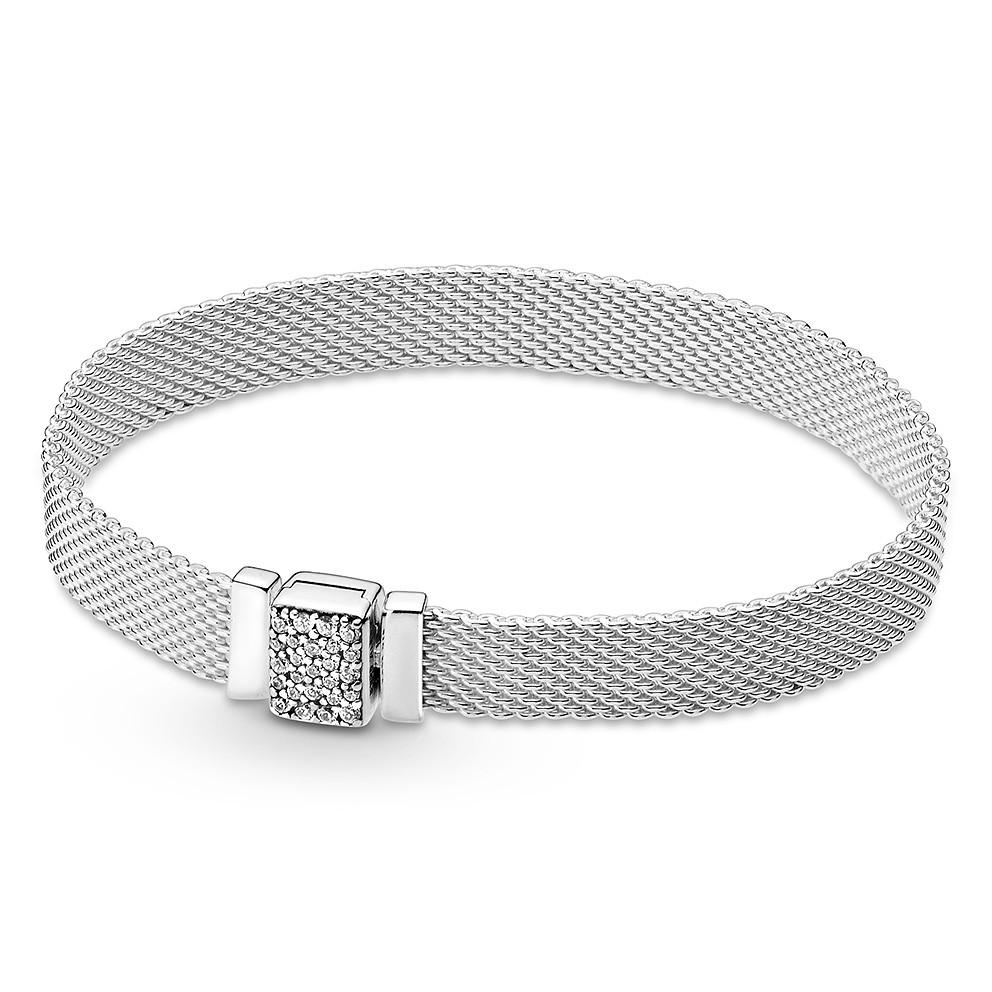 Pandora Reflexions 599166C01 Armband Sliding Pavé Clasp Mesh zilver 19 cm