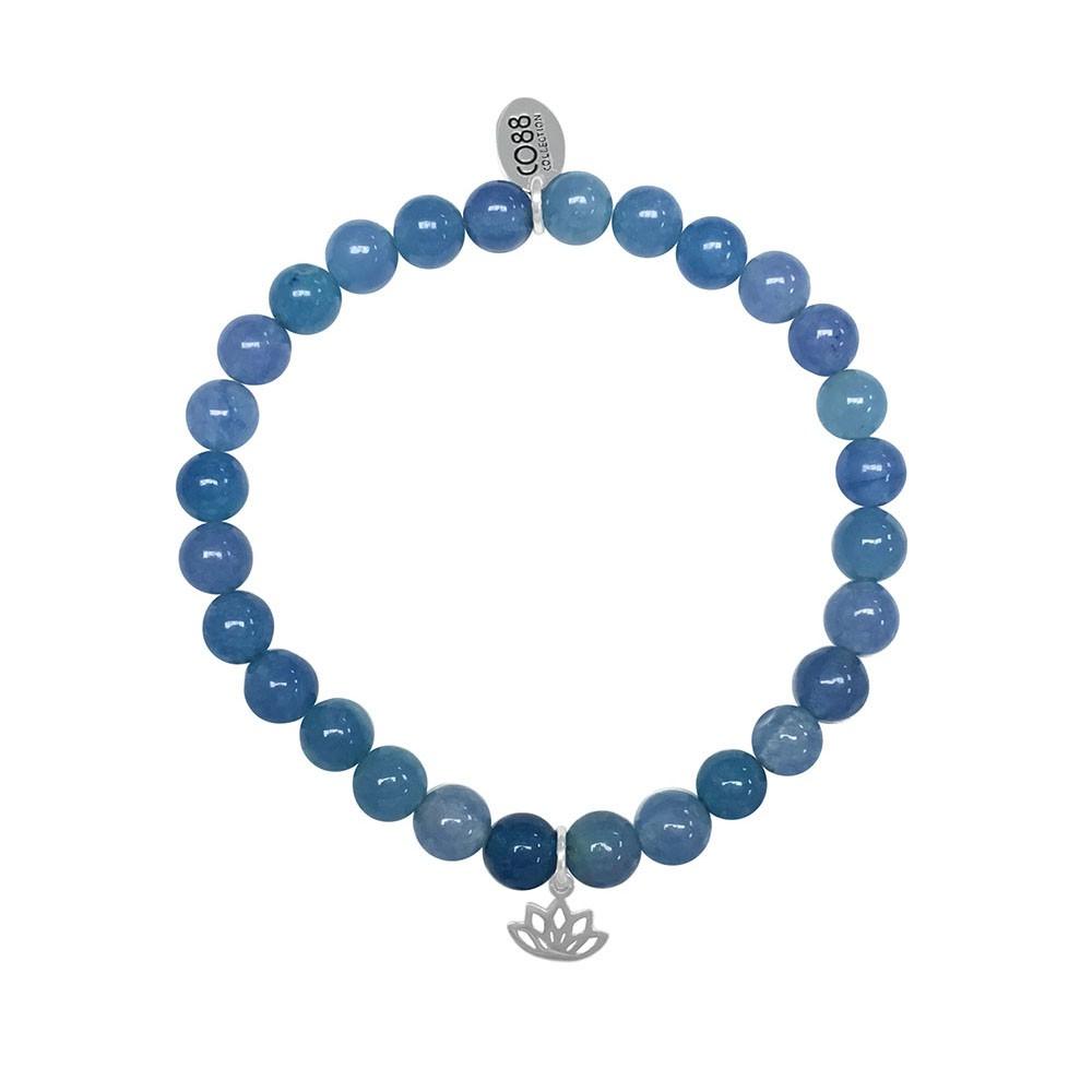 CO88 Collection 8CB-17040 -  Rekarmband met staal element - natuursteen Jade 6 mm - lotus bedel - one-size - blauw / zilverkleurig
