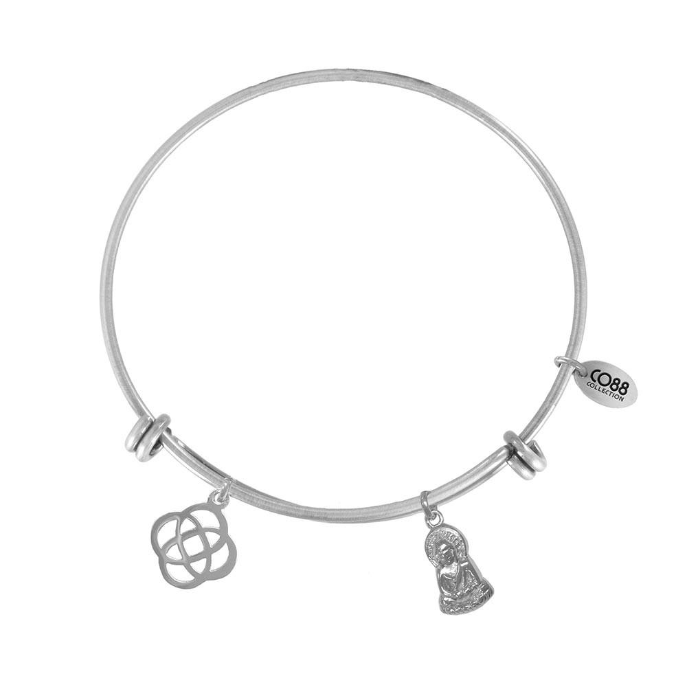 CO88 Collection 8CB-21009 - Stalen bangle met bedels - Keltische knoop en Boeddha - one-size - zilverkleurig