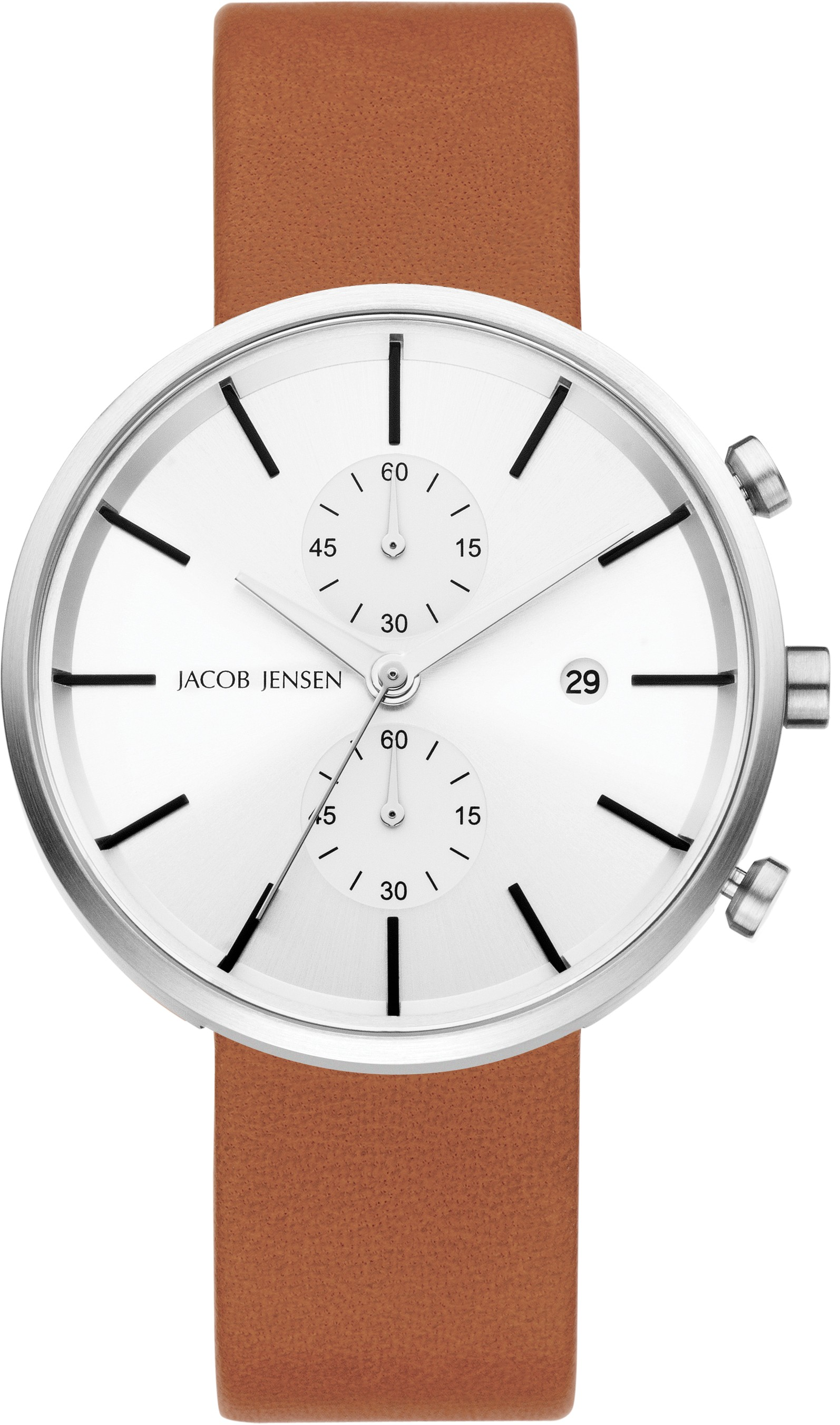 "Watch 622 Stainless Steel Sapphire Leather Strap Jacob Jensen ""linear"" Horloge"