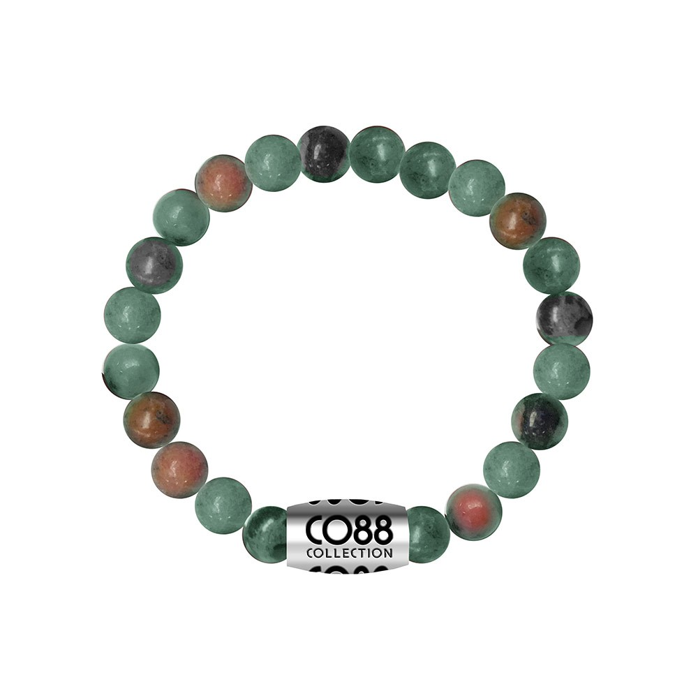 CO88 Collection 8CB-17032 - Armband met bead - Africa natuursteen 8 mm - lengte 16,8 cm - turkoois