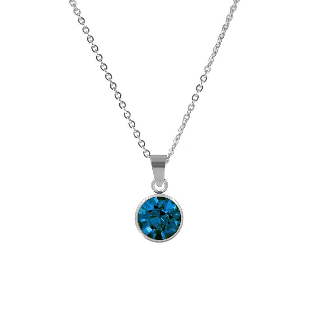 CO88 Collection 8CN-10023 - Stalen collier met geboortesteen december | licht saffier 10 mm - lengte 42 + 5 cm - blauw / zilverkleurig