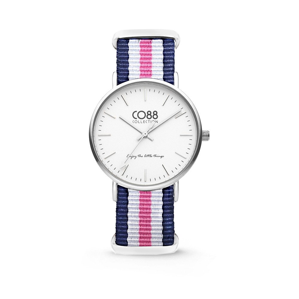 CO88 Collection 8CW-10029 - Horloge - nato nylon - blauw/wit/roze - 36 mm