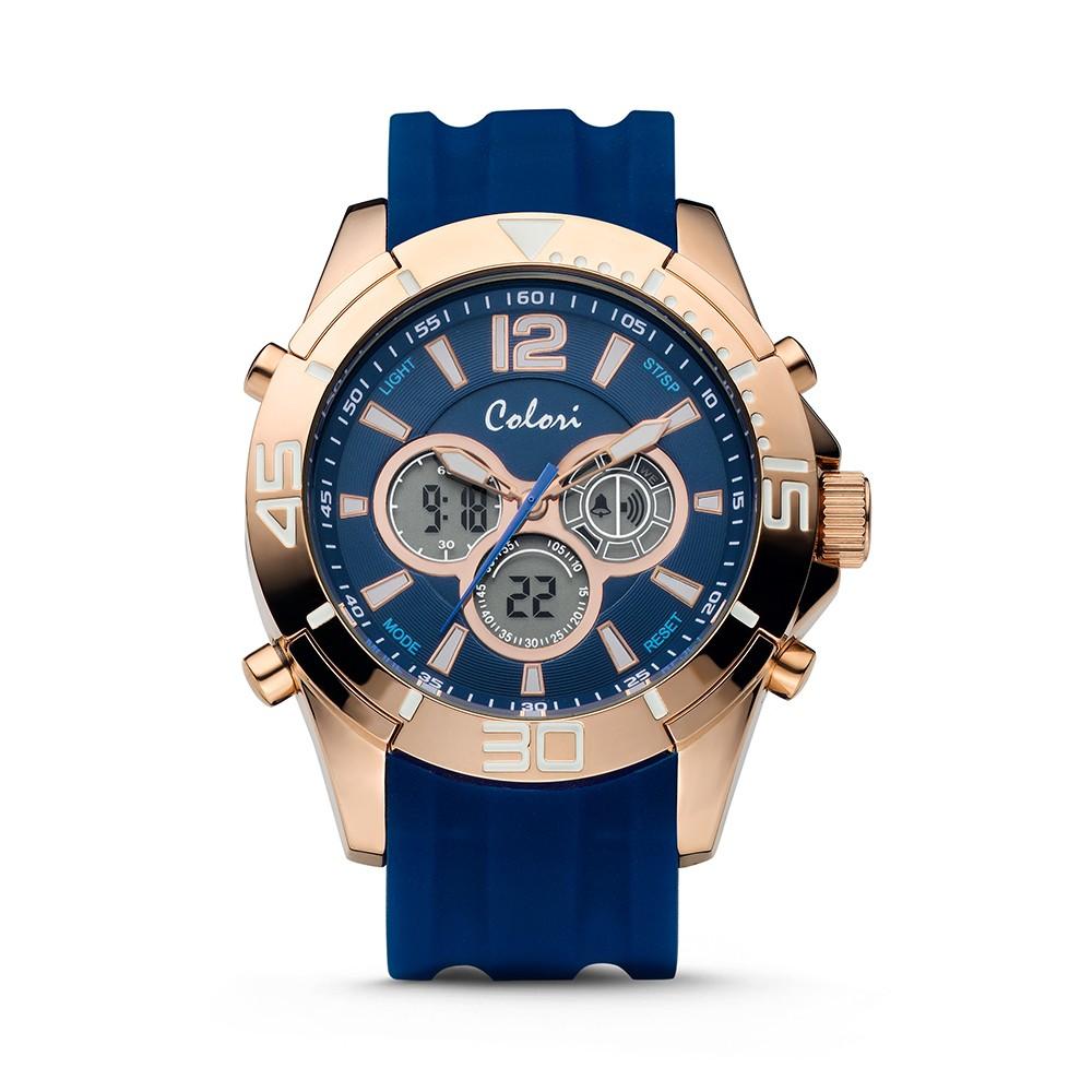 Colori Urban 5-CLD076 - Horloge - siliconen band - blauw - 47 mm