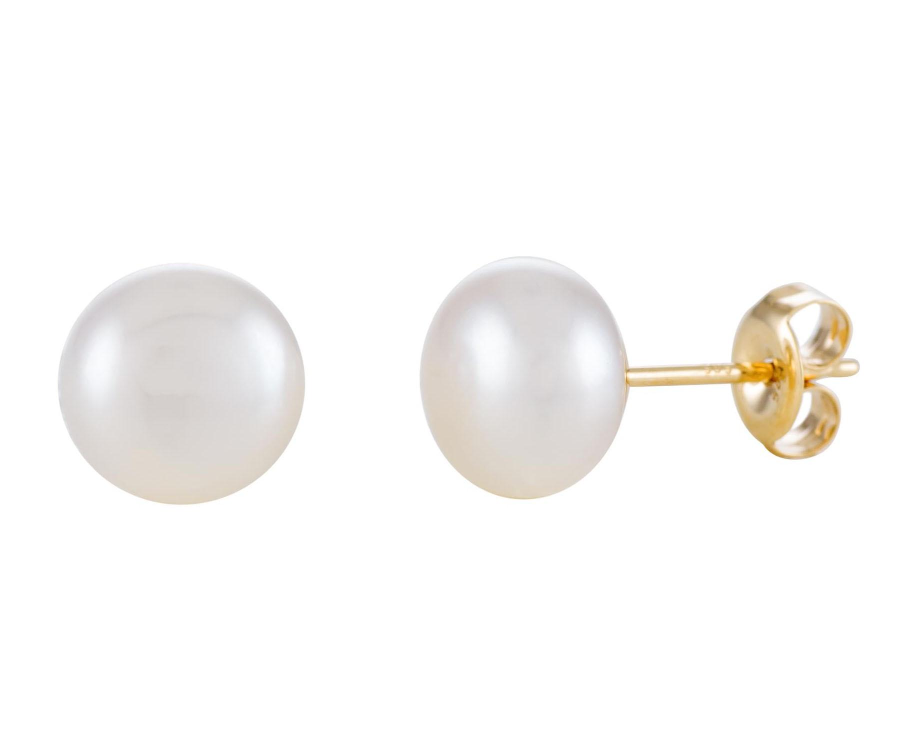 Glow Gouden Oorbellen button met zoetwaterparel 8 mm 206.0304.80