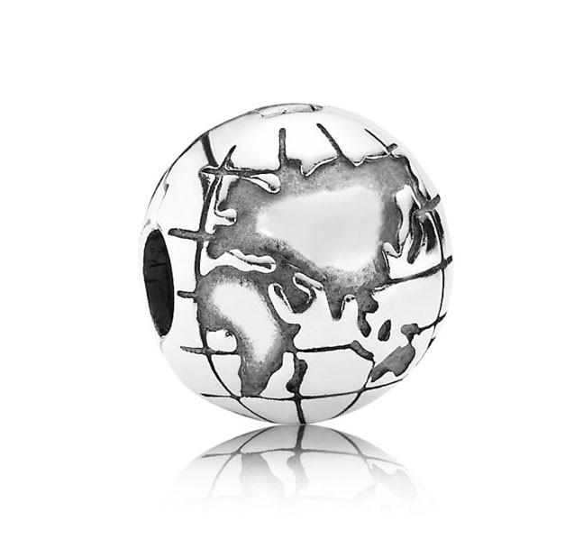 Pandora Bedel Clip-stopper zilver 'Wereldbol' 791182