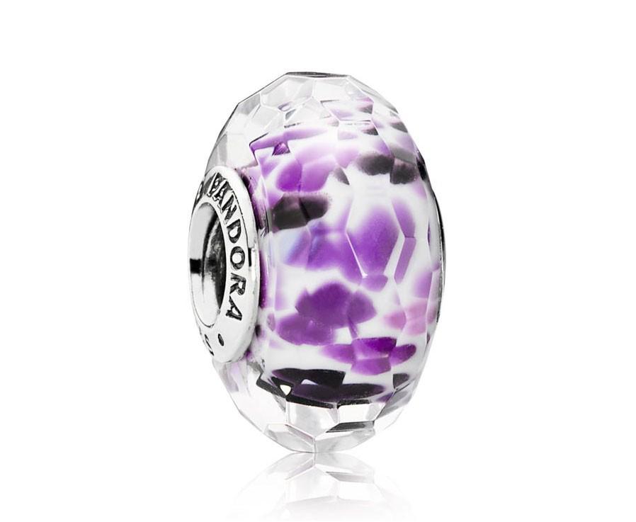 Pandora Bedel Muranoglas zilver 'Paars' 791608