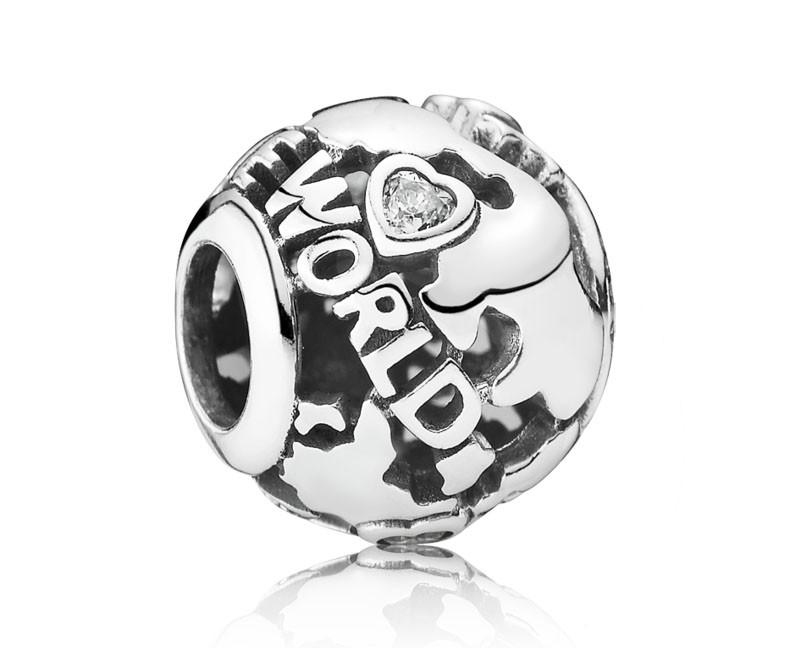 Pandora Opengewerkte bedel Zilver 'De wereld rond' 791718CZ