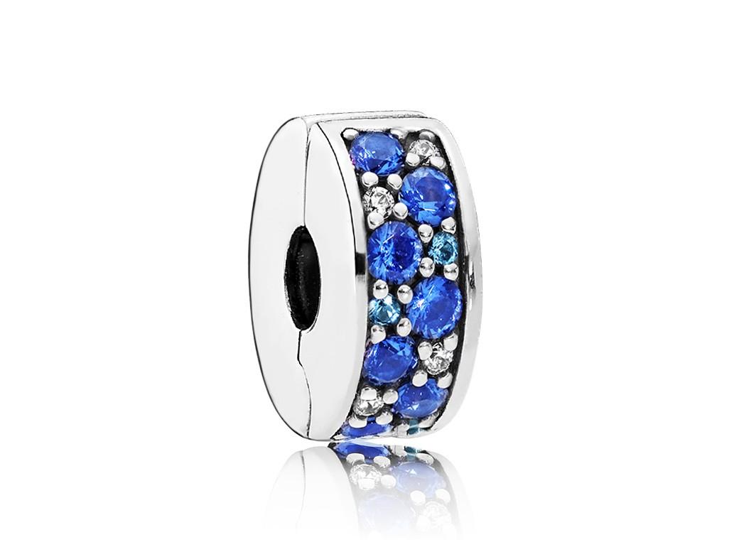 Pandora Clip-Stopper bedel zilver Blauw Mozaik 791817NSBMX