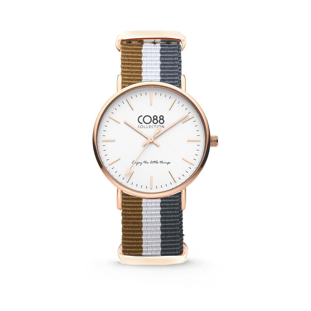 CO88 Collection - 8CW-10032 - Horloge - nato nylon - bruin/wit/grijs - 36 mm