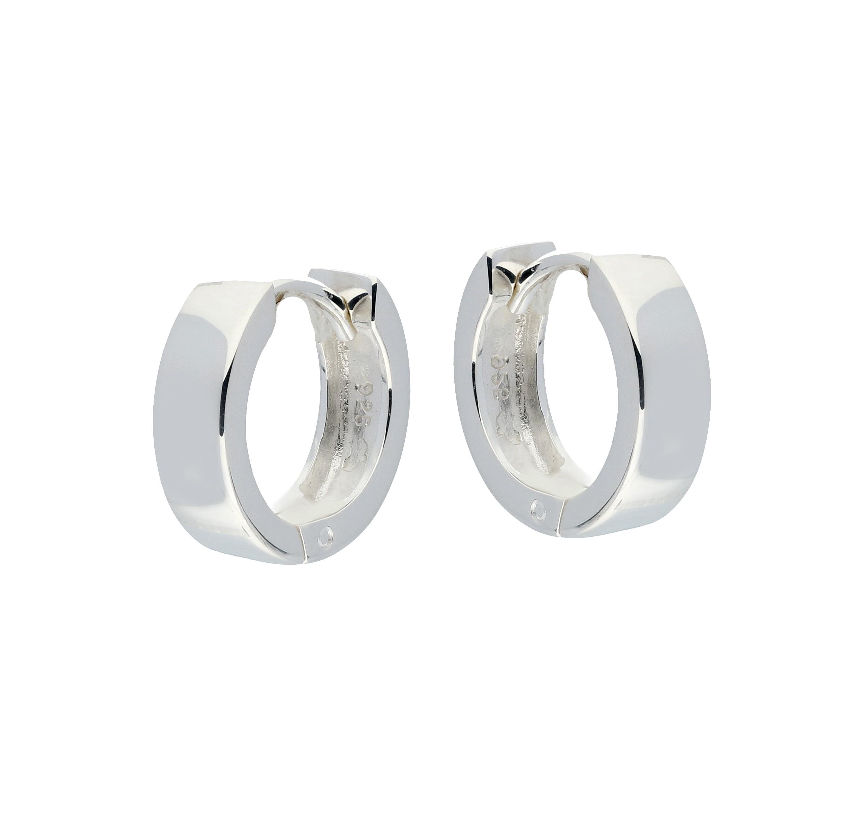 Zilveren klapcreolen - vierkante buis 4 mm  107.0074.14