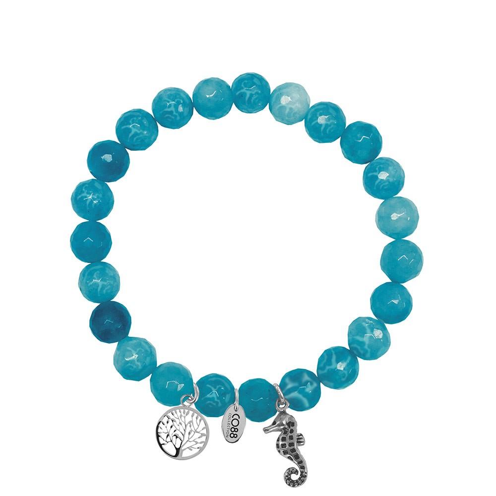 CO88 Collection 8CB-90003 - Armband met bedels - natuursteen en staal - Jade 8 mm - levensboom en zeepaardje - one-size - blauw / zilverkleurig