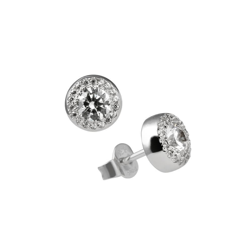 Zilveren fantasie oorknoppen diamonfire Signatures - zirkonia - rond - entourage 806.0122.00