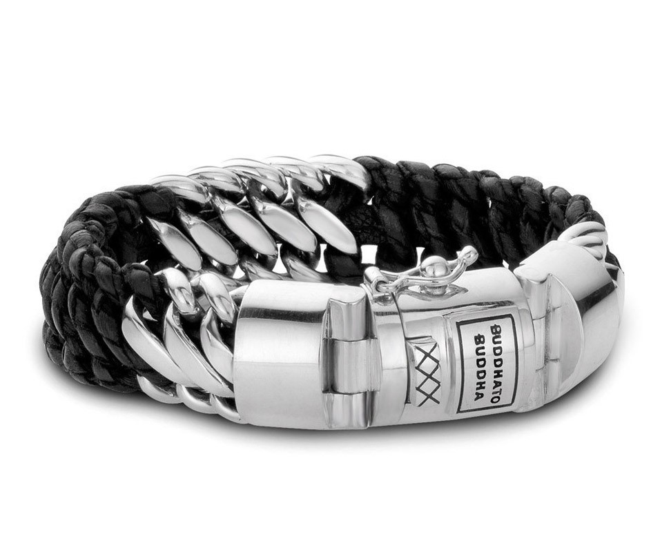Buddha to Buddha Armband Ben Silver- Leather Black (F) 21 cm 815