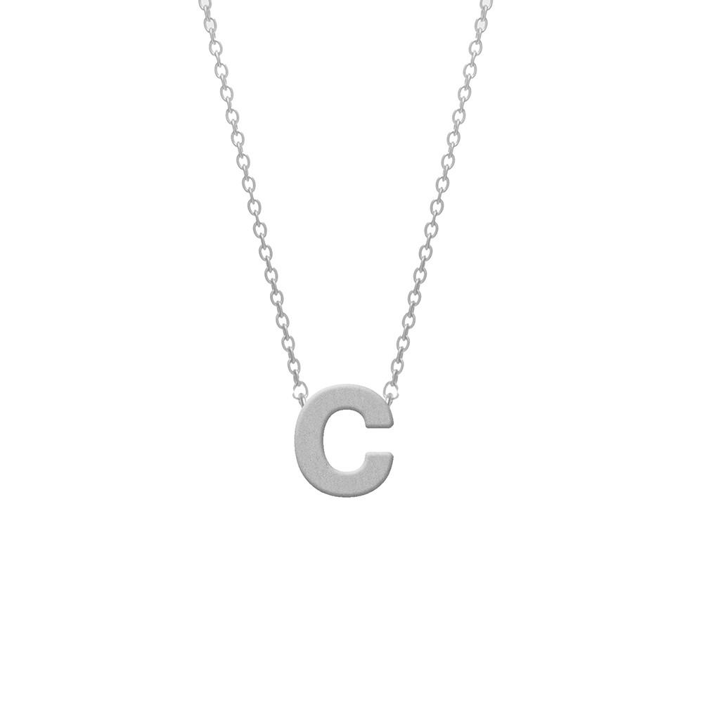CO88 Collection 8CN-11002 - Stalen collier - letterhanger C 9 mm - lengte 42+5 cm - zilverkleurig