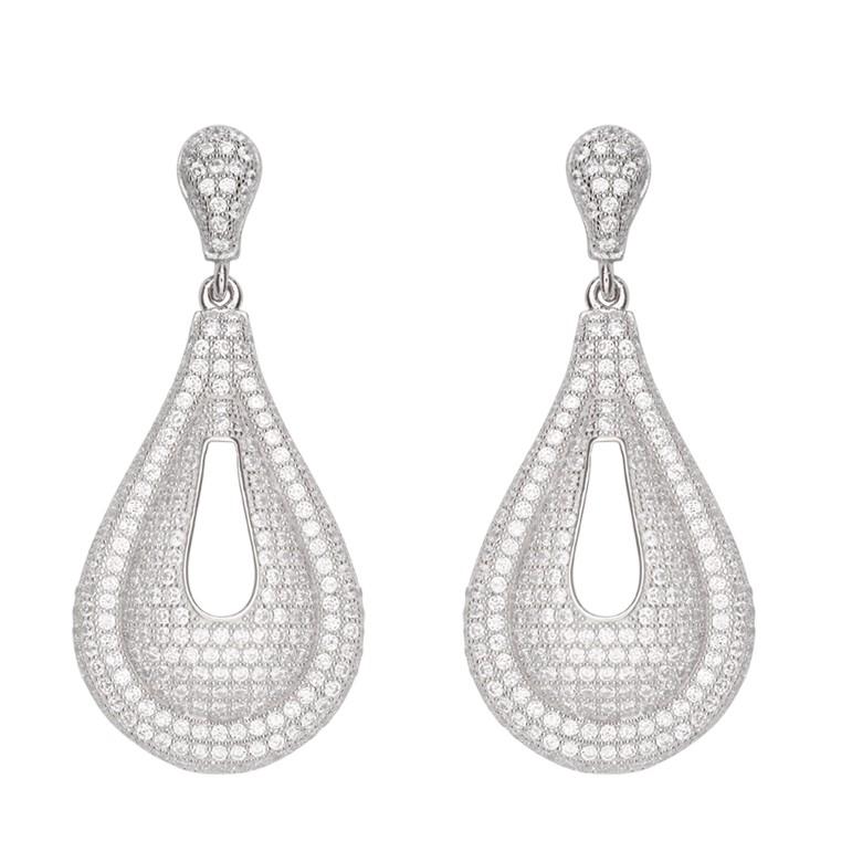Zilveren Oorbellen druppelvorm met zirconia 108.5382.00