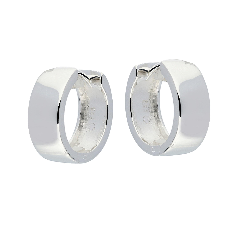 Zilveren klapcreolen - vierkante buis 6 mm  107.0075.16