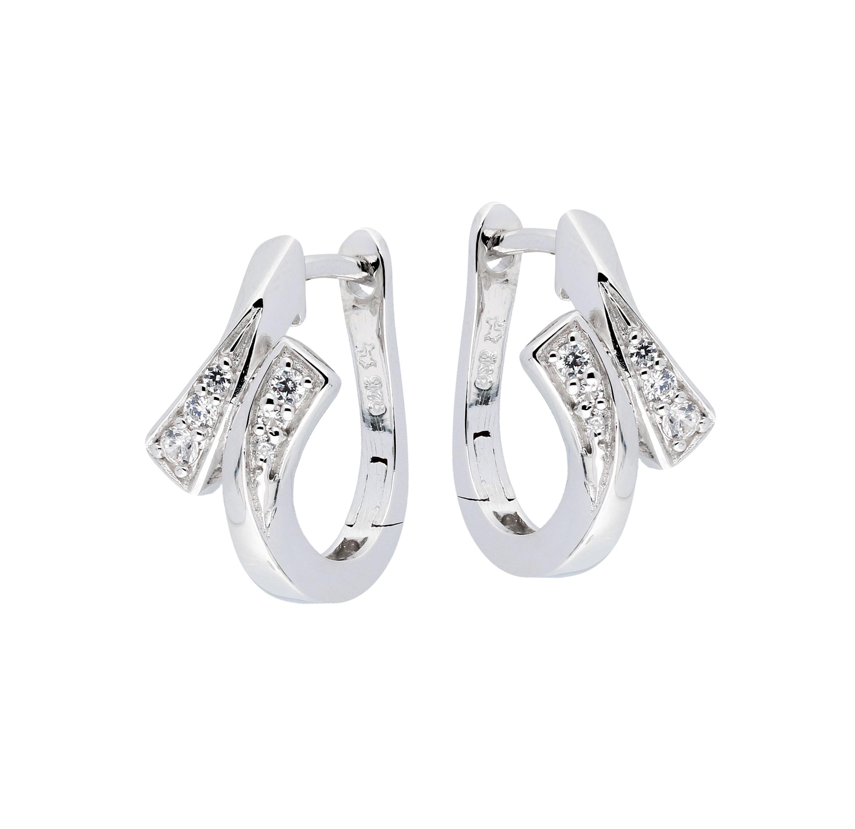 Zilveren Oorbellen klapcreolen met zirconia 107.6271.00