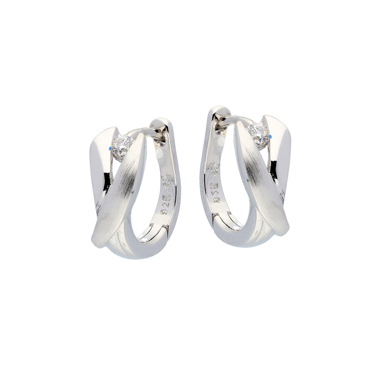 Zilveren klapcreolen - mat glanzend met zirkonia  107.6303.00