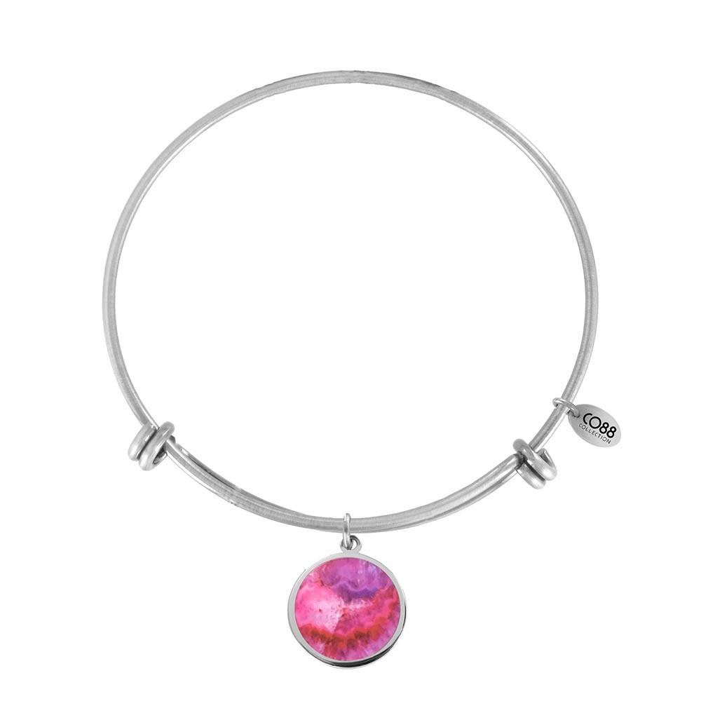 CO88 Collection 8CB-11027 - Stalen bangle met bedel - pink crystal 20 mm - Ø 60 mm - zilverkleurig