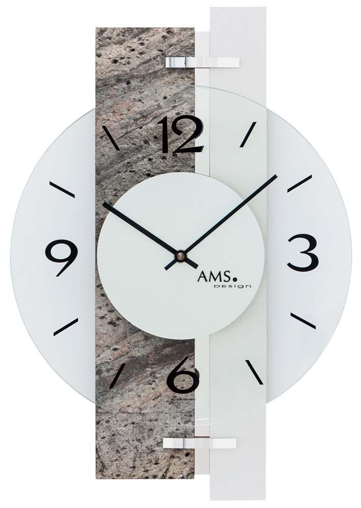 AMS 9558 Wandklok Natuursteen-Aluminium