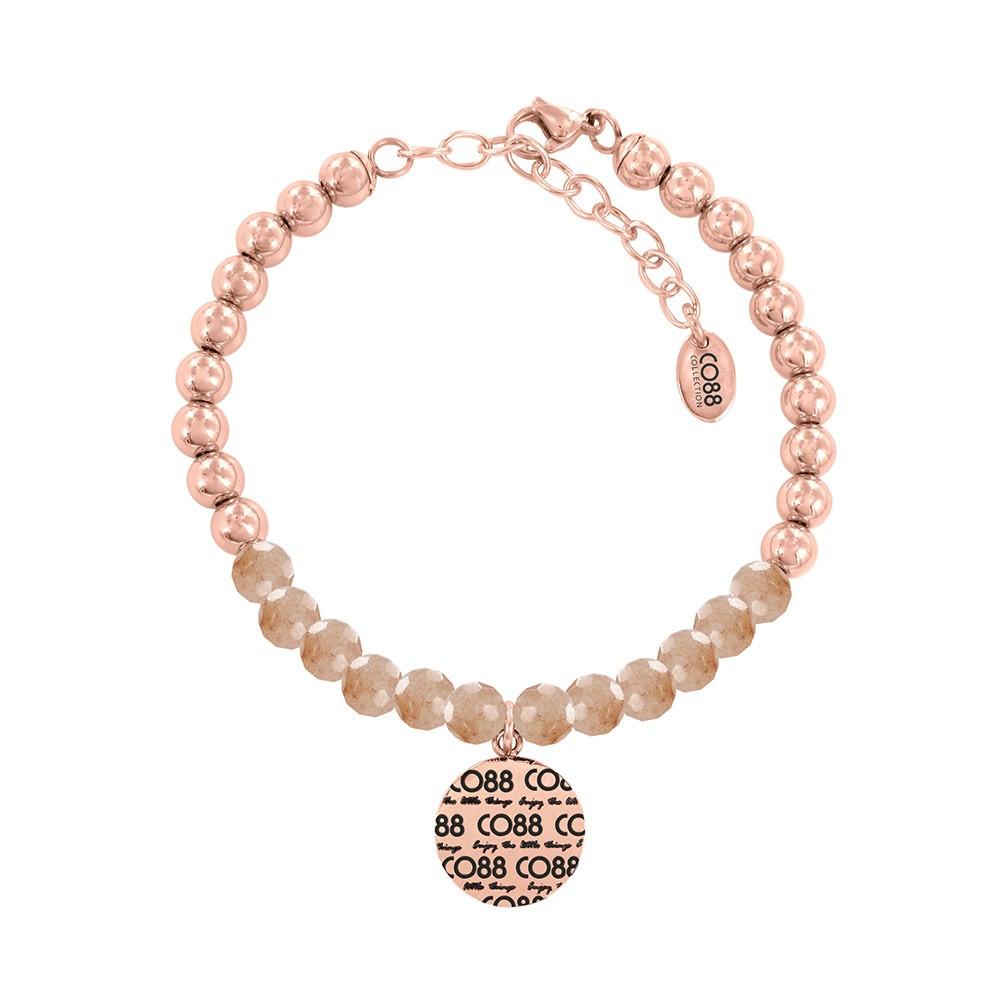 CO88 Collection 8CB-14005 - Armband met bedel - stalen en Jade natuursteen 6 mm - CO88 logo - lengte 17 + 5 cm - licht roze / rosékleurig