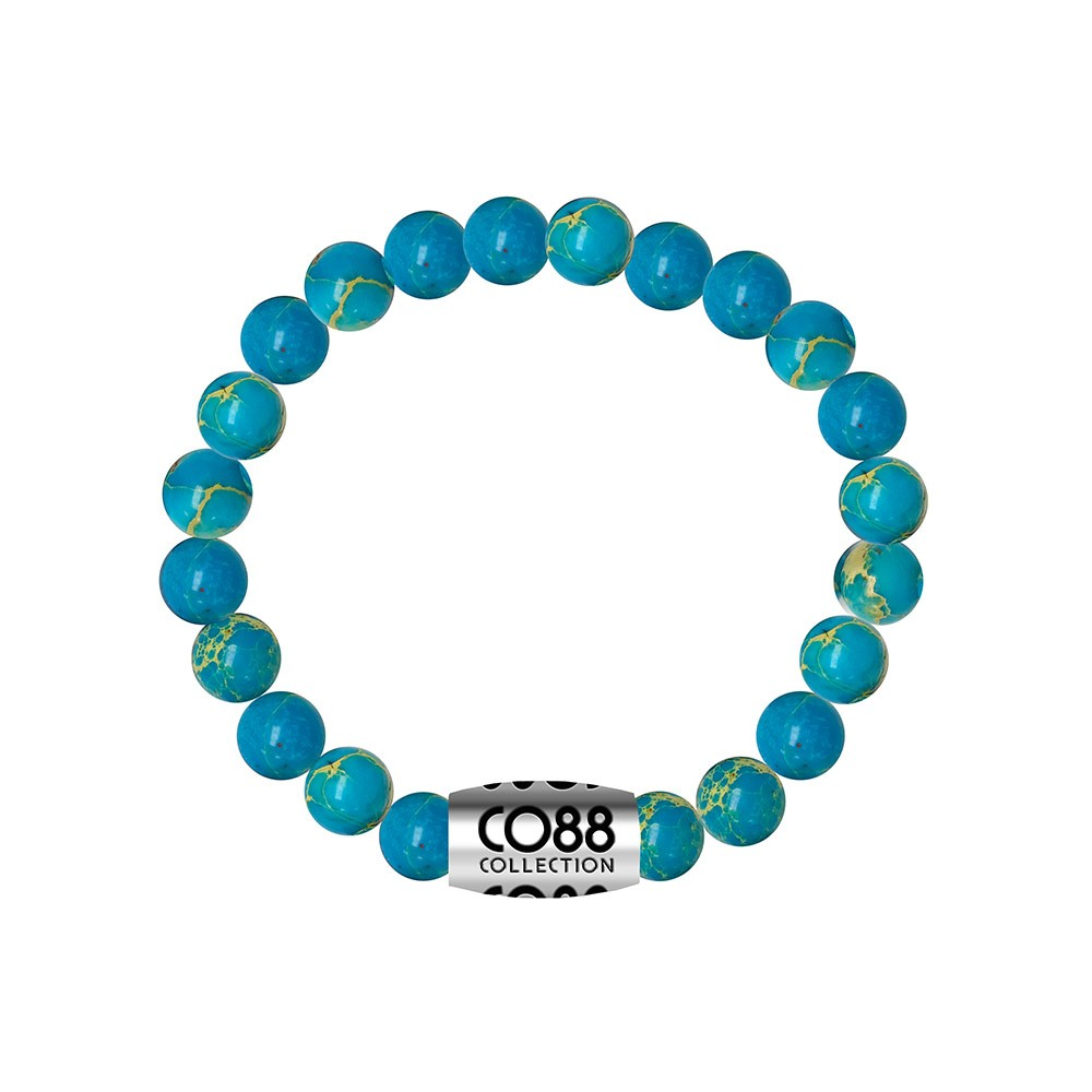 CO88 Collection 8CB-17030 - Armband met bead - Ocean natuursteen 8 mm - lengte 16,8 cm - blauw