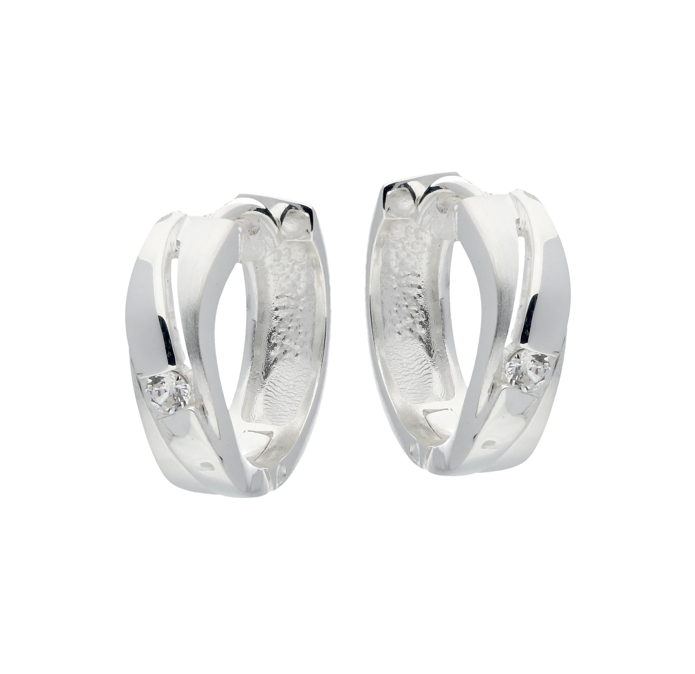 Zilveren klapcreolen - zirkonia - mat glanzend  107.5930.00