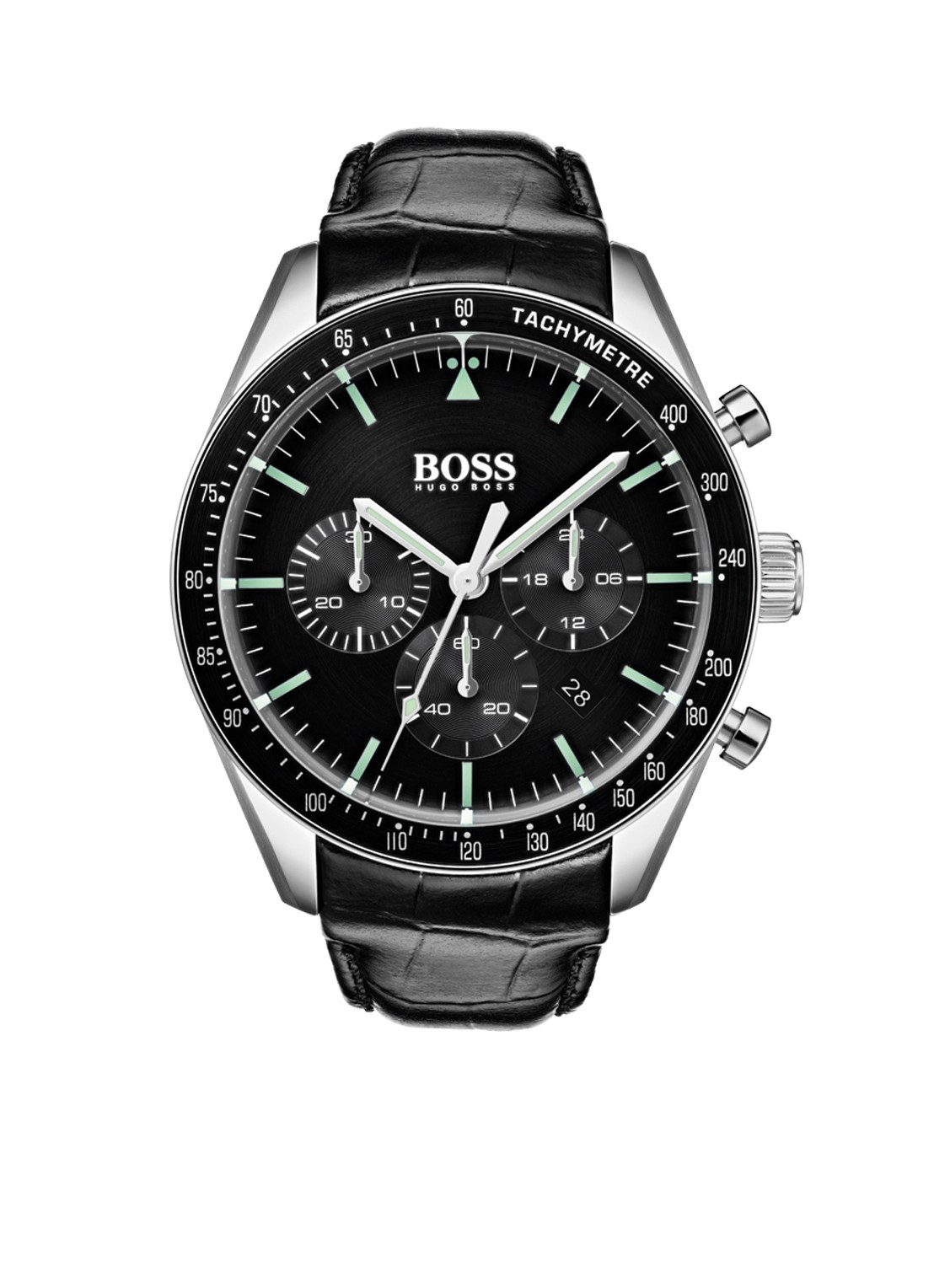 Hugo Boss HB1513625 TROPHY Polshorloge Leer Zwart Heren