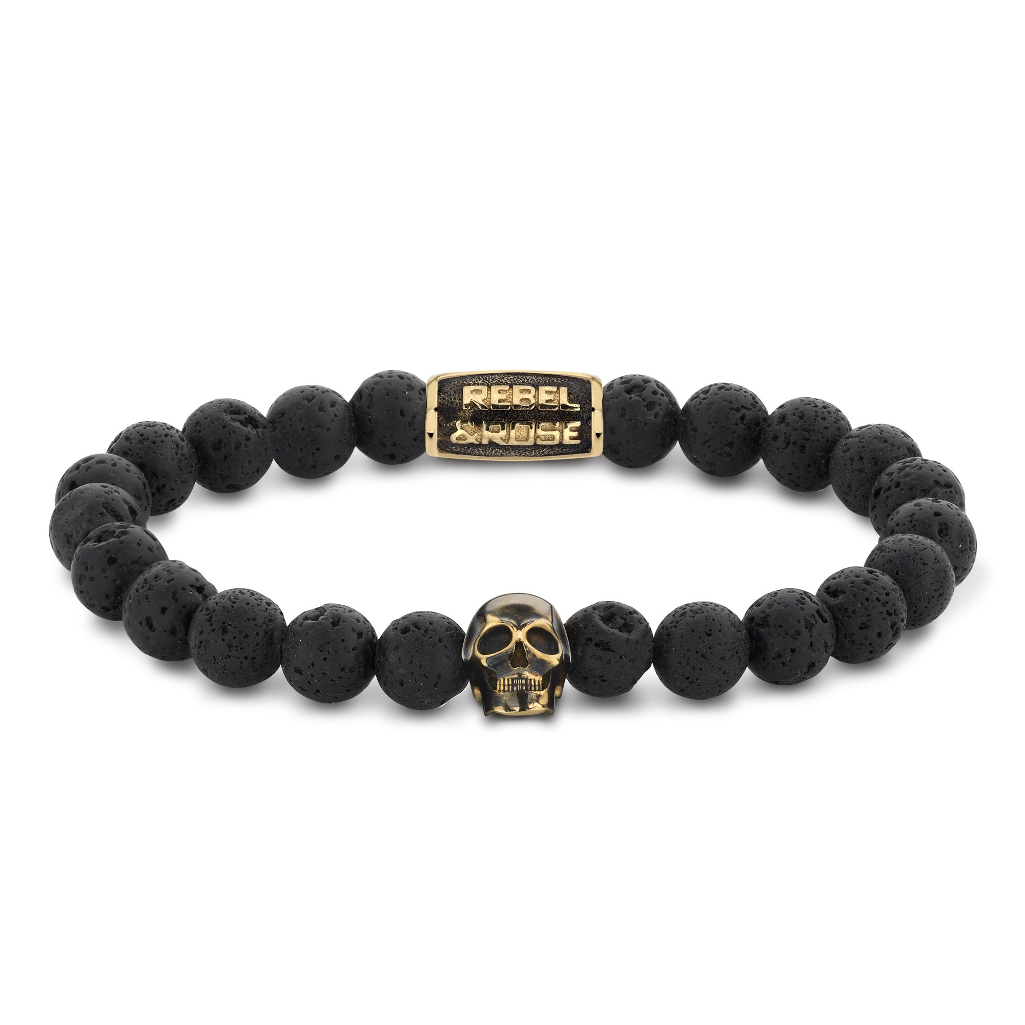 Rebel and Rose RR-SK002-G-S Armband Skull Black Moon - yellow gold plated S 8mm 16.5