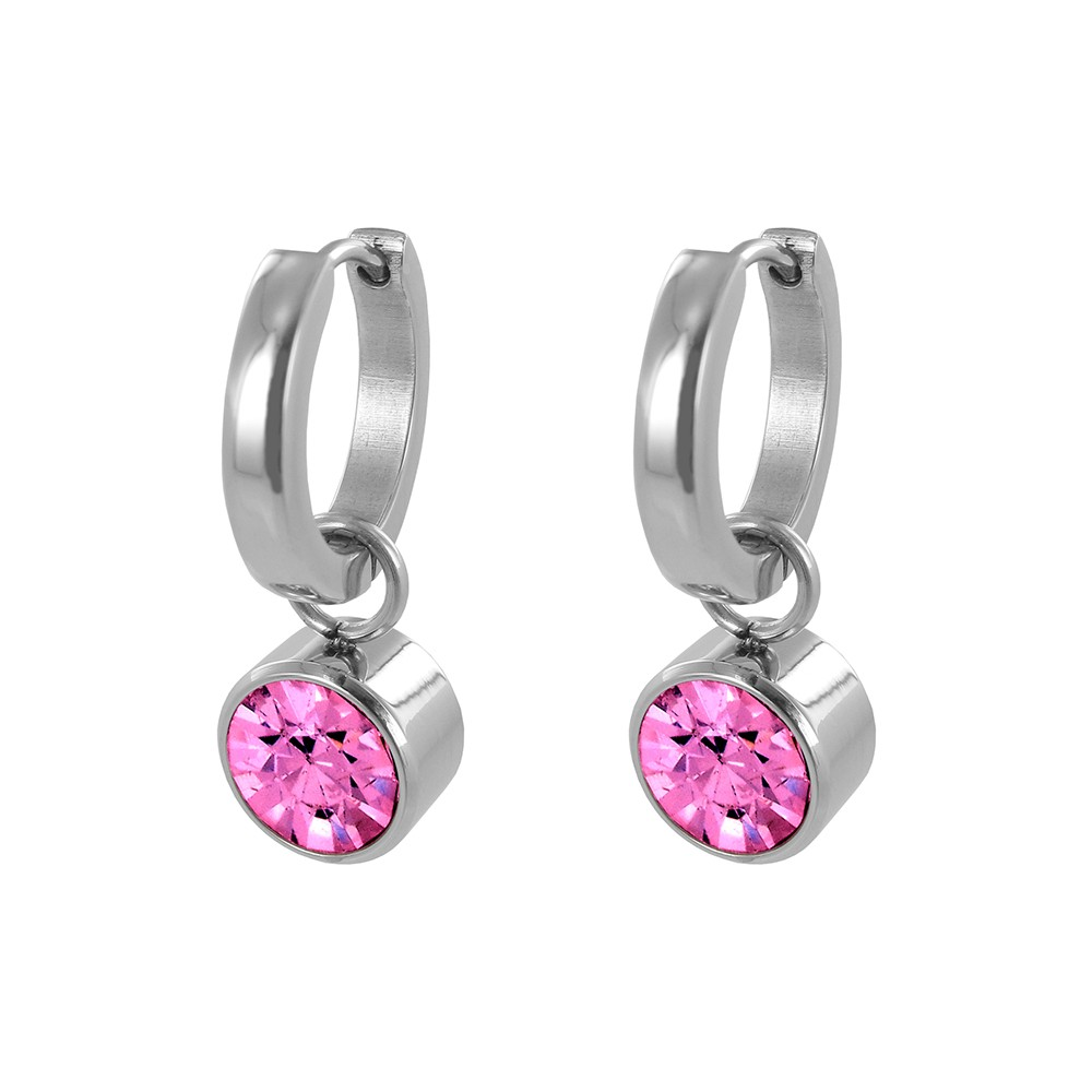 CO88 Collection 8CE-60009 - Stalen creolen met geboortesteen oktober | rozenkwarts 10 mm - lengte 2,5 cm - roze / zilverkleurig