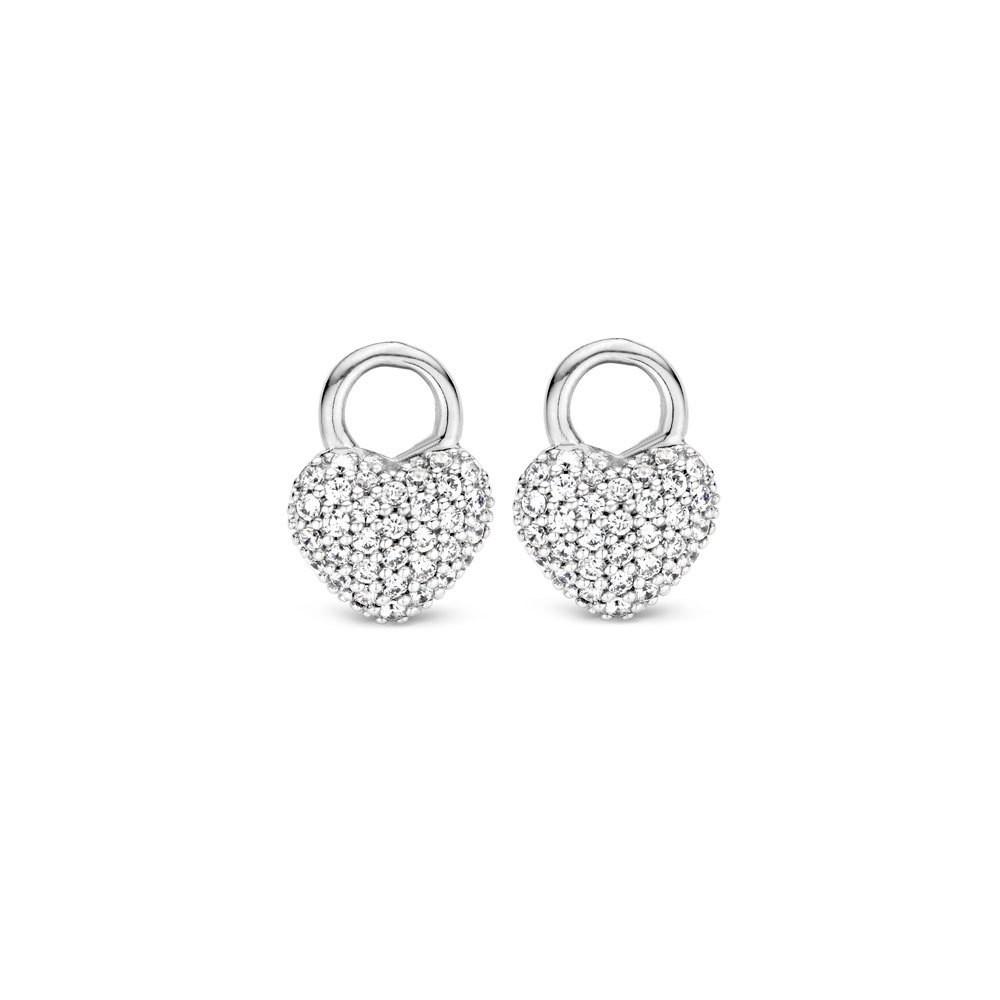 TI SENTO - Milano 9182ZI zilveren hartvormige zirkonia oorbelhangers